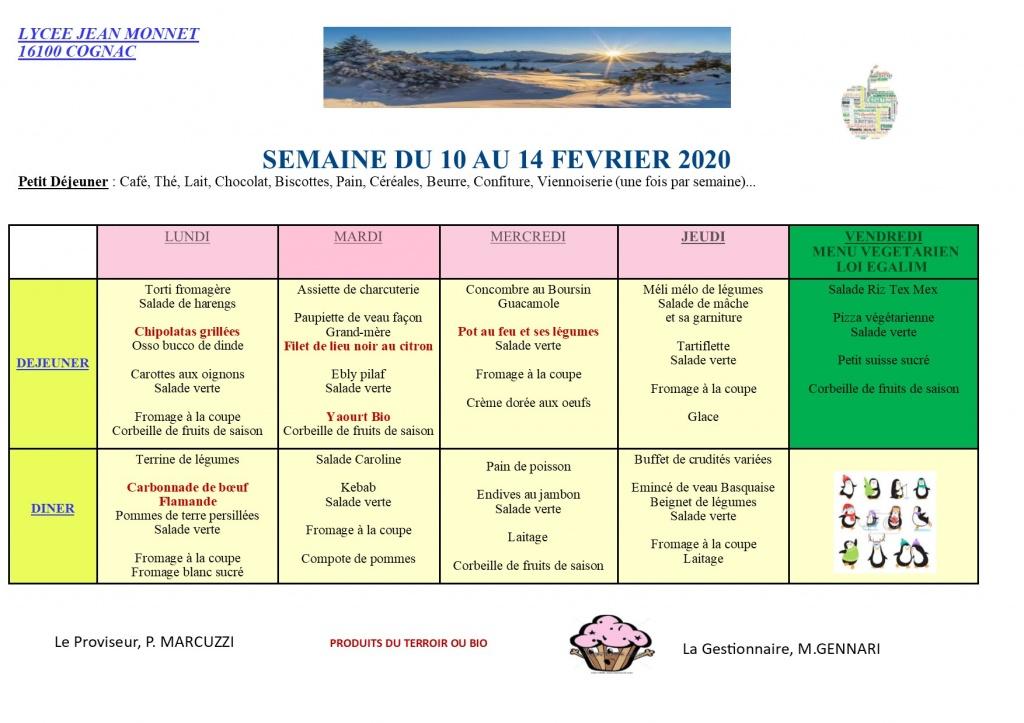 MENU DU 10 AU 14 FEVRIER 2020
